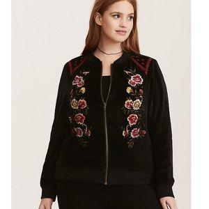 Torrid Floral Embroidered Bomber Jacket size 0X